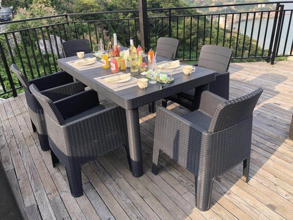Faro 6 Seater Deluxe Dining Set - Black Rattan Effect