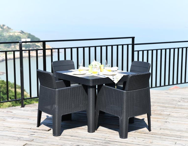 Faro 4 Seater Square Dining Set - Black Rattan Effect