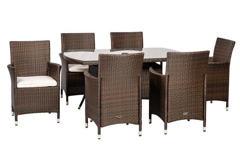 Cannes 6 Seater Rectangular Dining Set in Mocha Brown