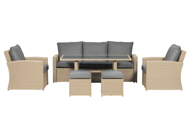 Lisbon 7 Seater 6pc Deluxe Sofa Dining Set