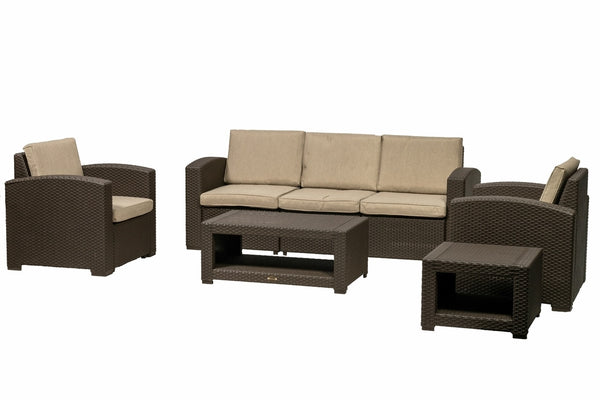 Brooklyn 5 Seat Lounging Set - Brown