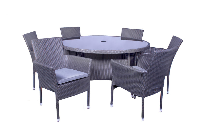 Malaga 6 Seater Fixed Dining Set