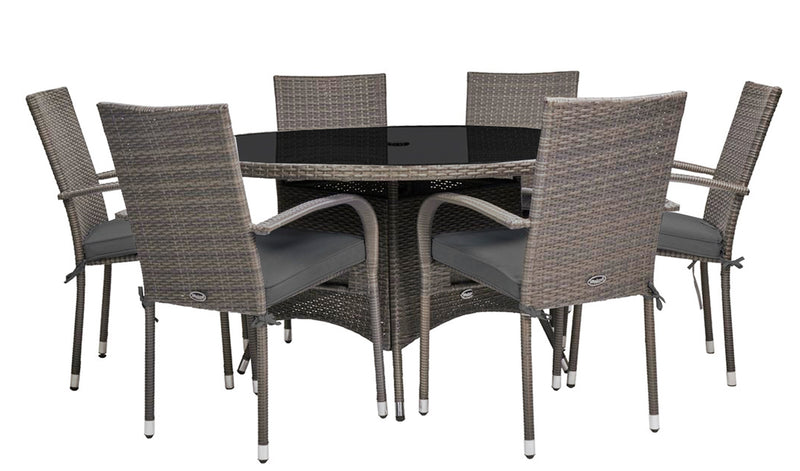 Malaga 6 Seater Stacking Dining Set