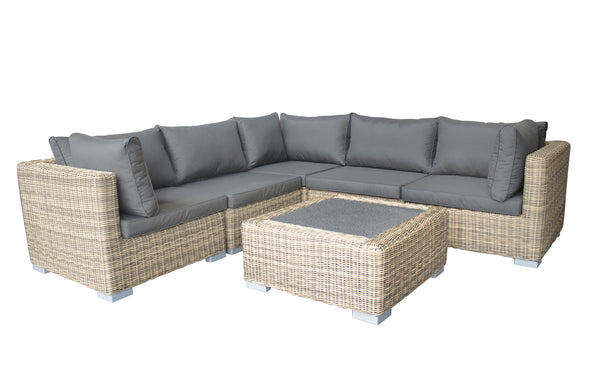 Modena 6pc Corner Lounging Set with Spraystone Glass Coffee Table