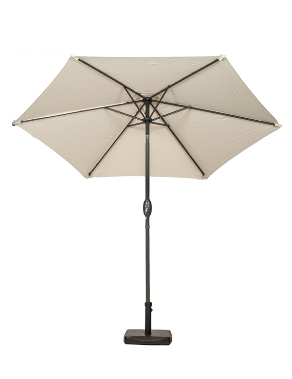 Ivory 2.5m Crank and Tilt Parasol - Grey Powder Coat Pole