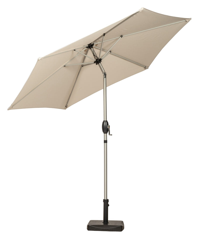Ivory 2.5m Crank and Tilt Parasol - Brushed Aluminium Pole