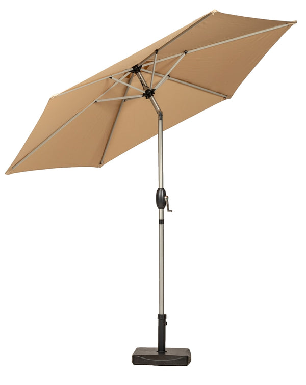 Sahara 2.5m Crank and Tilt Parasol - Brushed Aluminium Pole