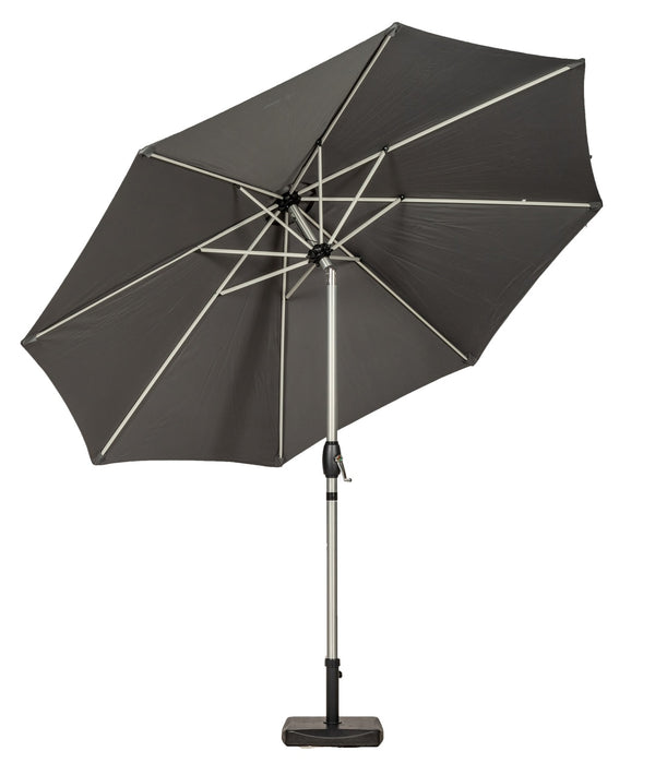Grey 3m Crank and Tilt Parasol - Brushed Aluminium Pole