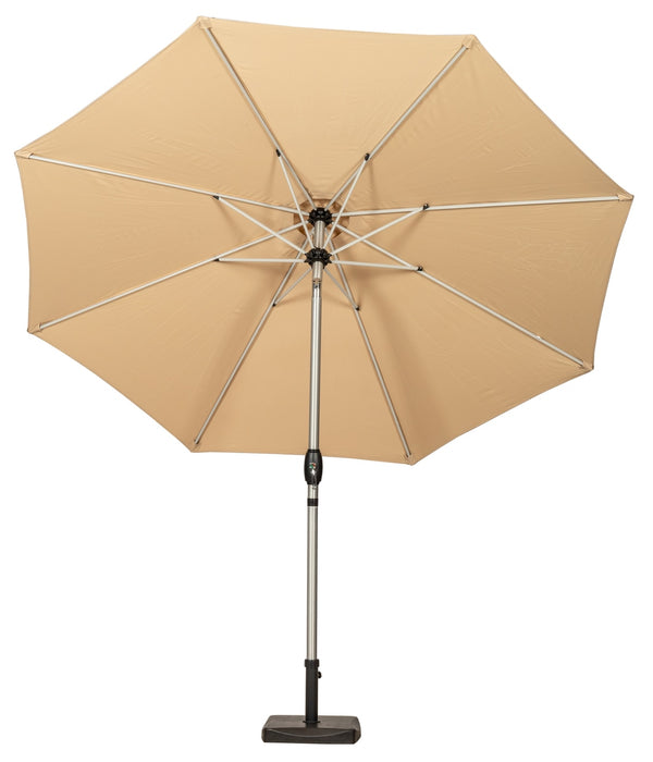 Sahara 3m Crank and Tilt Parasol - Brushed Aluminium Pole