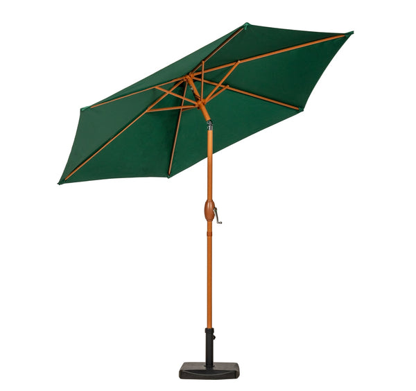 Green 2.5m Woodlook Crank and Tilt Parasol