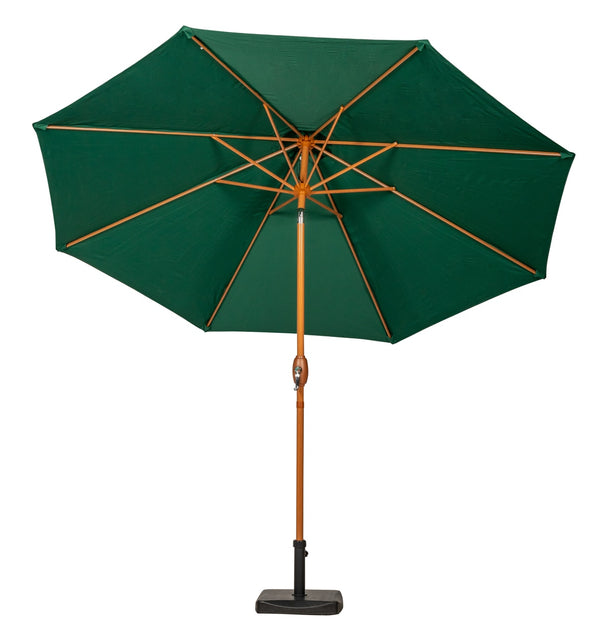 Green 3m Woodlook Crank and Tilt Parasol