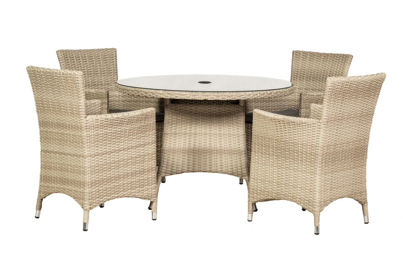 Lisbon 4 Seater Round Carver Dining Set