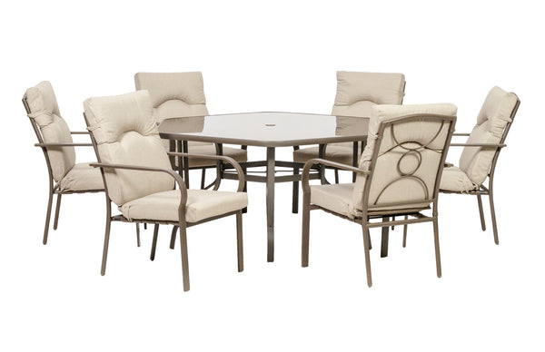 Amalfi Oatmeal 6 Seater 7pc Hexagonal Dining Set