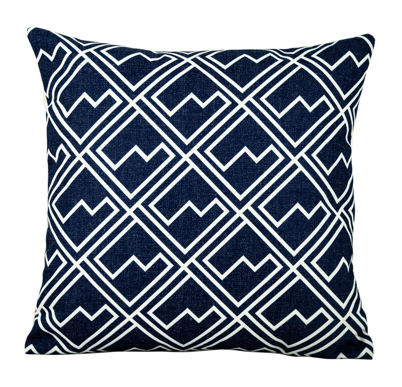 White Square Pattern on Blue Scatter Cushion