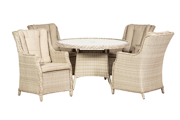 Seychelles 4 Seater Round Highback Comfort Dining Set