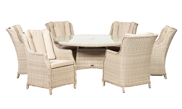 Seychelles 8 Seater Round High Back Dining Set