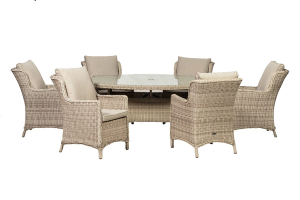 Seychelles 6 Seater Oval Comfort Dining Set