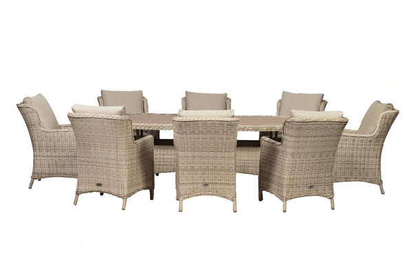 Seychelles 8 Seater Oval Comfort Dining Set - Polywood