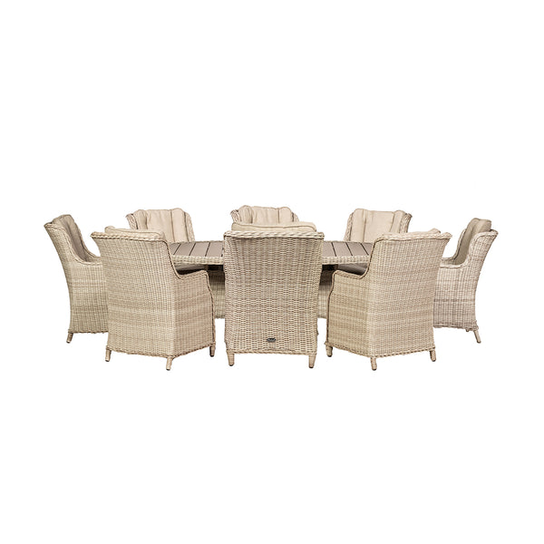 Seychelles 8 Seater Oval Highback Dining Set - Polywood