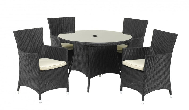 Cannes Ebony Black 110Cm Glass Table With 4 Carver Chairs