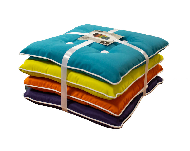 Multi Coloured Seat Pads/ Cushions - Pack of 4