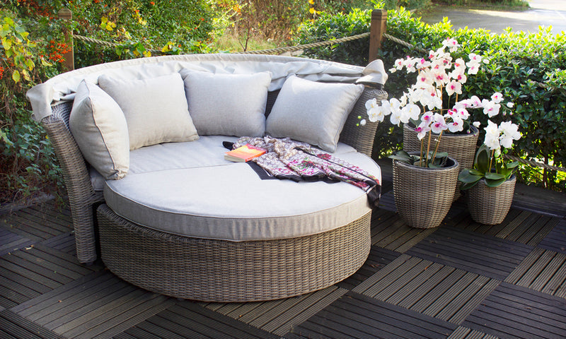 Sandstone Day Bed Including Weather-Shield Cushions and Protective Cover