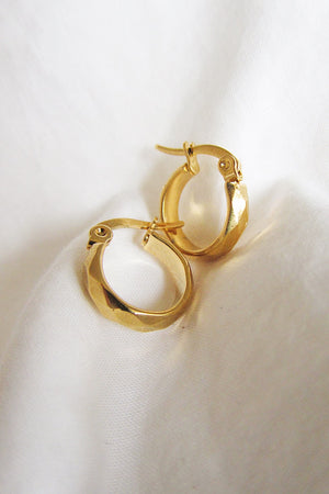 Gold plated textured hoops