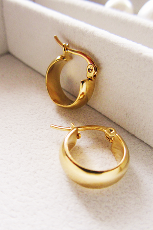 Gold plated thick mini hoop
