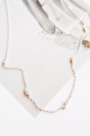 Silver eyelet necklace