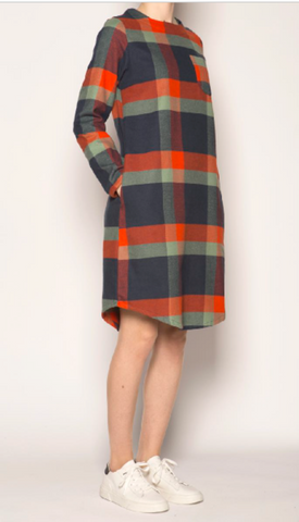 Pan Navy Checked Flannel Dress