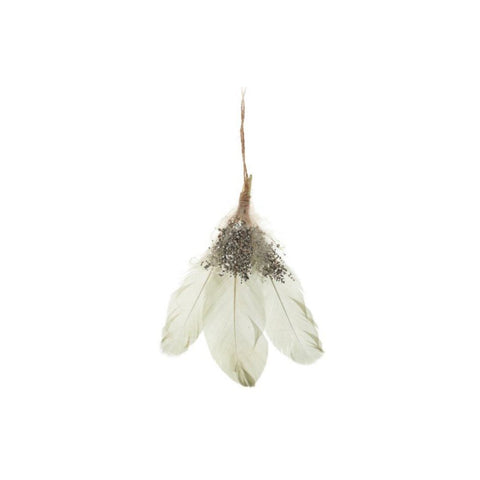 Sage & Silver Feather Ornament