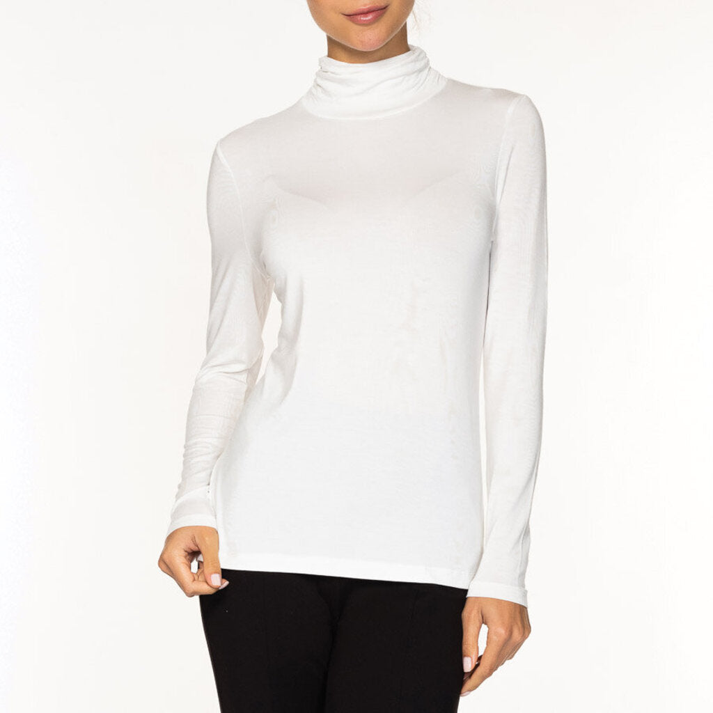 Alison Sheri Mock Neck Long Sleeve - Off-White