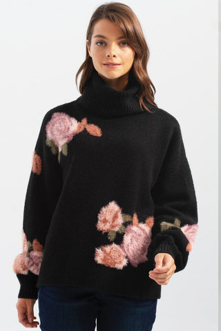 Charlie B Black Rose Print Turtleneck