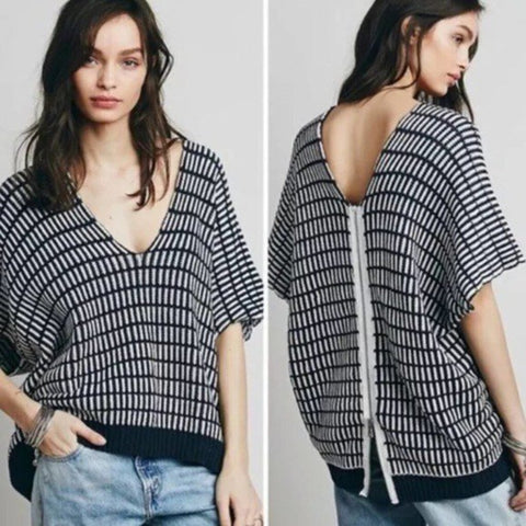 Free People Navy/White Zip Back Knit - Size M