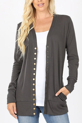Zenana Outfitters Charcoal Cardigan - Size S