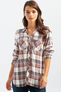Charlie B Rosewood Plaid Top