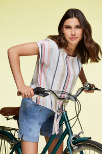 Charlie B Striped Linen Top