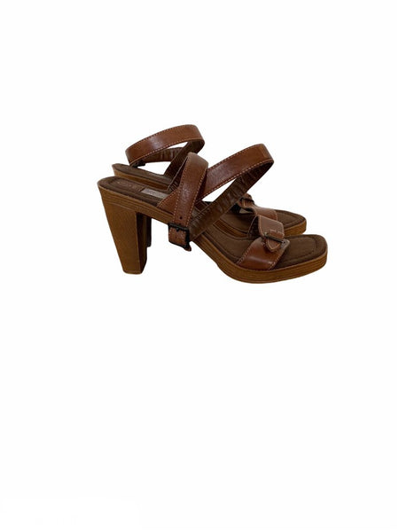 Passofino Brown Leather Ankle Wrap Heeled Sandal - Size 8