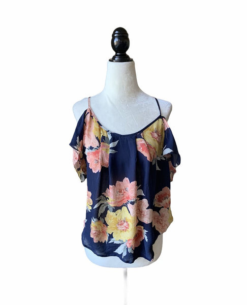 Joie Navy Floral Spaghetti Strap Cold Shoulder Silk Top - Size L