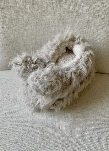 Lemon Shaggy Bunny Slippers
