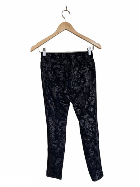 Hue Black Metallic Damask Print Leggings - Size S