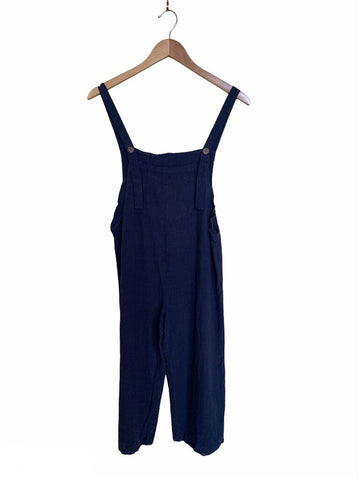 Style Rack Navy Linen Coveralls - Size S
