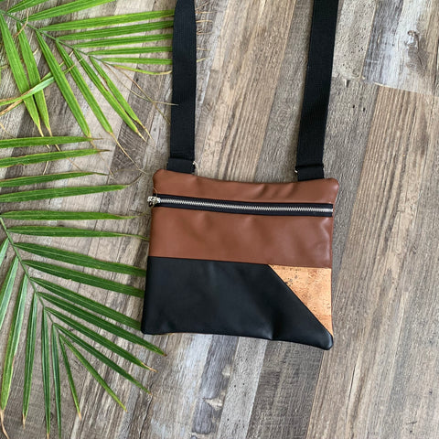 Fetch Bags Vegan Leather and Cork Crossbody
