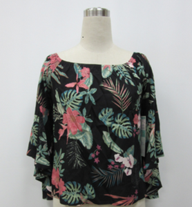 Papillon Tropical Bell Sleeve Top