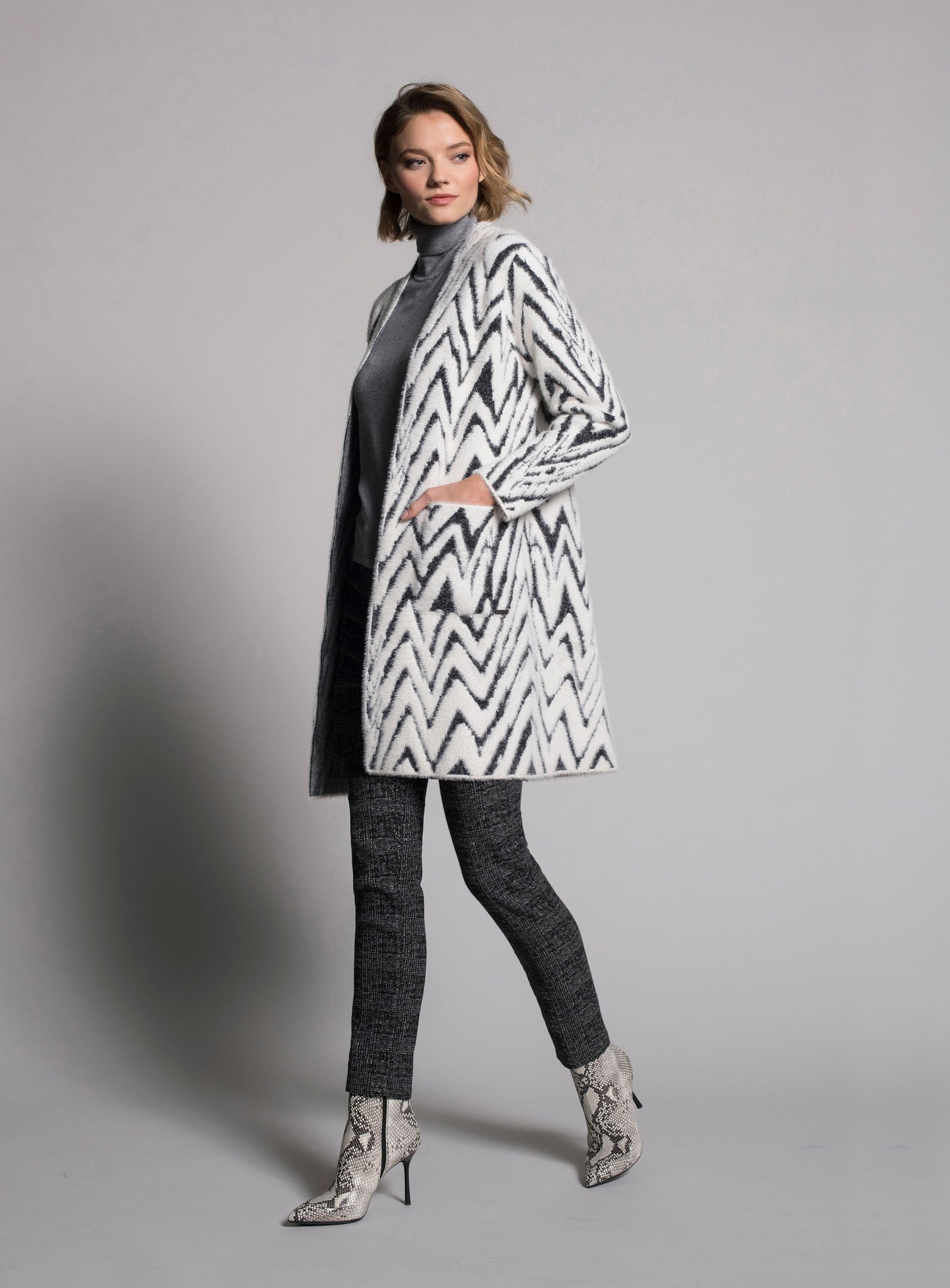 Picadilly Fuzzy Chevron Cardigan