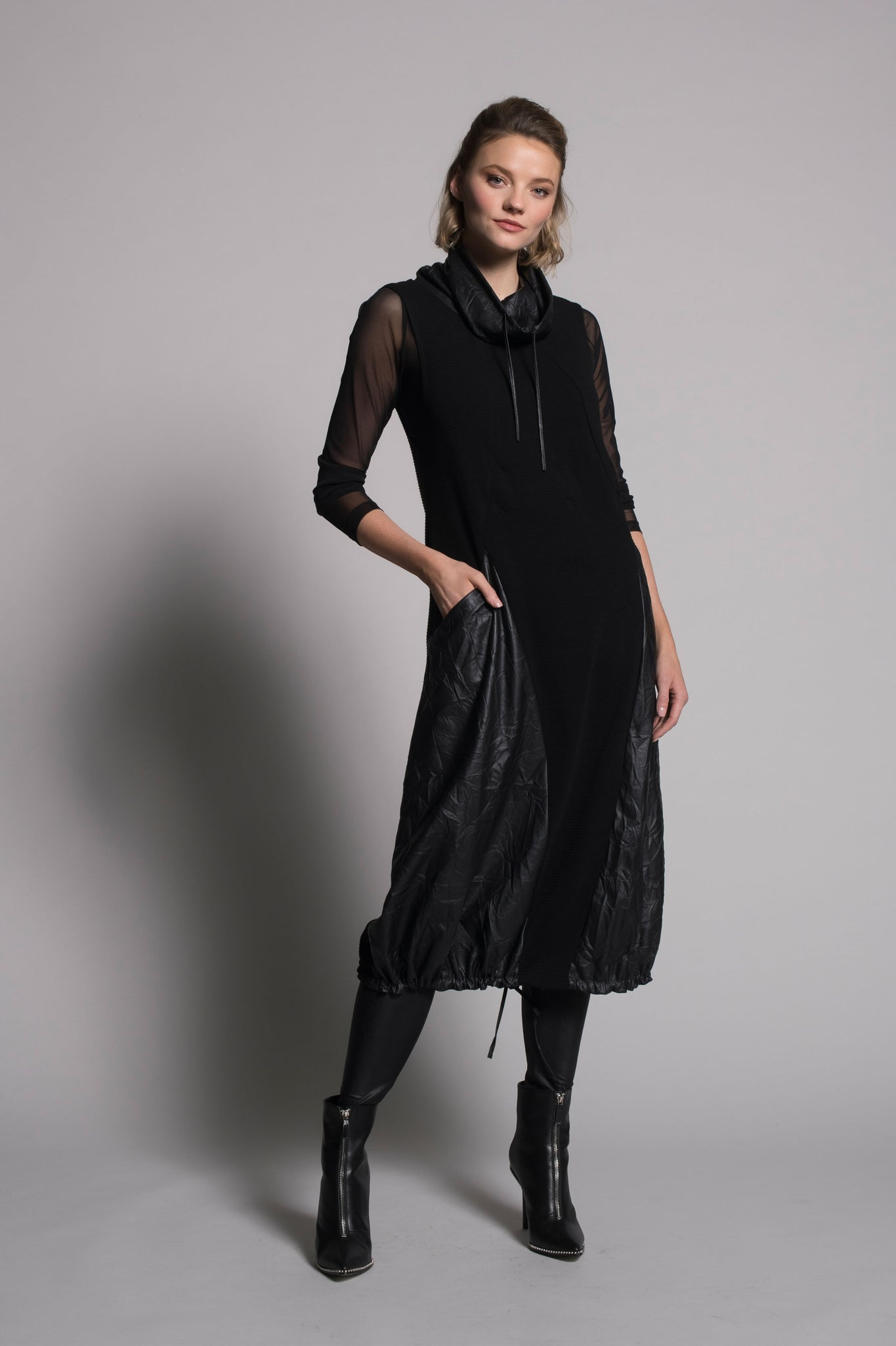 Picadilly Scrunched Leatherette Knit Dress