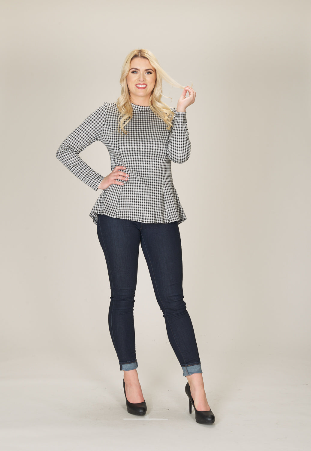Papillon Gingham Peplum Top