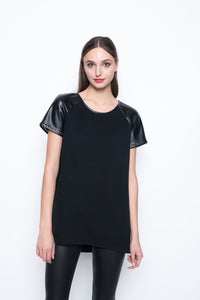 Picadilly Faux Leather Trimmed Top