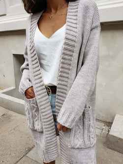Casual Knitted Solid Casual Cardigans