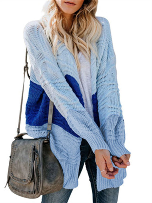 Knitted contrast color cardigan